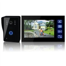 7-inch LCD Screen Waterproof Hands-free Wired Video Door Phone Doorbell Intercom Entry System With Night Vision / EU-plug Power Adapter (Black)