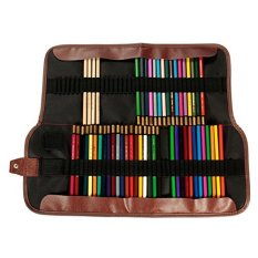 72 Holes Colors Portable Pencil Case Holder Organizer Art Pencils Roll up Pouch Canvas Pen Bag