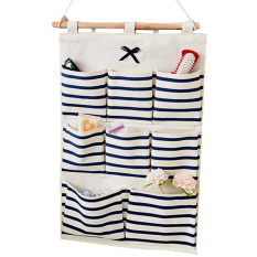 8 kantong linen/kain katun pintu dinding lemari gantung tas penyimpanan wadah rumah penyelenggara biru strip - International