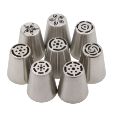 8Pcs / Set Russian Nozzle Pastry Tips Confeitaria Stainless Steel Cake Decorating Tools - Intl