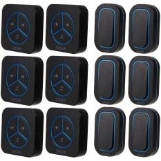 9909 Black, 6 Emitter To 6 Receiver Waterproof 280M Long-Range Wireless DoorBell, Wireless Door Chime, Wireless Bell
