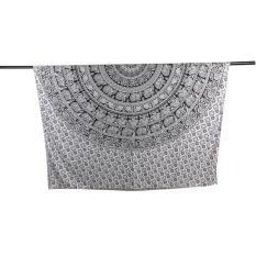 Ai Home Elephant Mandala Hippie Tapestry Bohemian Wall Hanging Beach Towel (Black&White)