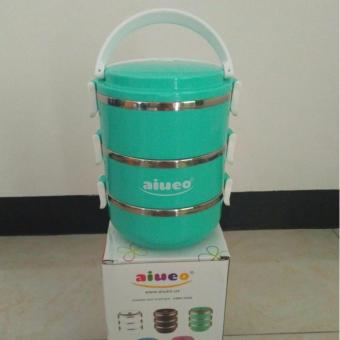AIUEO Eco Lunch Box Stainless Steel Rantang 3 Susun - Emerald green