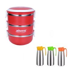 AIUEO Eco Lunch Box Stainless Steel Rantang 3 Susun Glossy Bundling Teko Minum Stainless Steel Tahan Panas - Pitcher Water Stainless Steel Random Colour