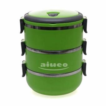 AIUEO Eco Lunch Box Stainless Steel Rantang 3 Susun - Green
