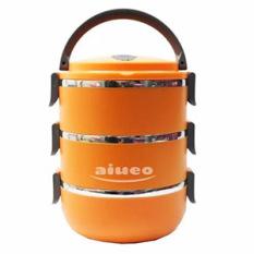 AIUEO Eco Lunch Box Stainless Steel Rantang 3 Susun - Orange