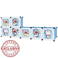 AIUEO Lemari Pakaian Motif Doraemon 7 Pintu Type 7.1 - Biru