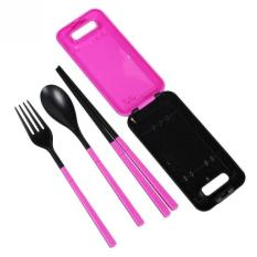Alat Makan Set / Sendok Travel / Sendok Garpu Sumpit Travel - Pink