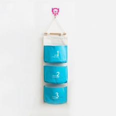 Allwin Wall Sundry Fabric Cotton 3 Pockets Hanging Holder Storage Bag Rack Makeup - Intl