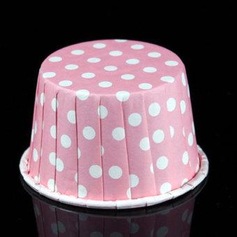 Amart 100 Buah Tempat Kue Muffin Kertas Bentuk Bulat Cetakan Pembuat Cupcake (Warna:Titik