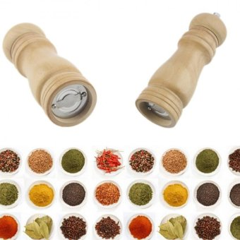 Amart 5 Inch Wooden Wood Oak Pepper Spice Salt Corn Mill Grinder Muller