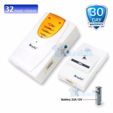 Arashi Bell Rumah Listrik Wireless Remote Putih-Orange 100 M 32 Lagu + Led type 1111