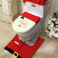 Astar Cyber 3 PCs Christmas Decorations Happy Santa Toilet Seat Cover And Rug Bathroom Set (Red) - Intl