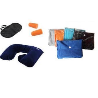 Bantal Leher + Tas Cloth Bag Travel Pillow Set