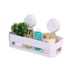 Bathroom Kitchen Rack Suction Shelf Wall Hanging Storage Organizer (White) (Intl)