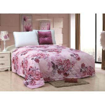 bed cover 180x200 motif bunga pink