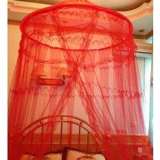Best Kelambu Gantung Big Circle / Besar / Motif Anti Nyamuk Kasur Tempat Tidur - Merah