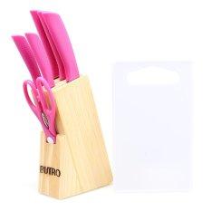 Bistro Pisau Stainless Steel Set - Pink - 8 Buah + Talenan