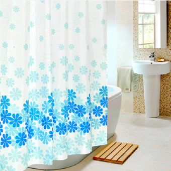 Blue Flowers Waterproof Shower Curtain Thicken Mouldproof Polyester Bathroom Curtains (180cm X 180cm) - Intl
