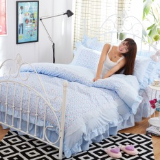 Blue Simple Style Heart Pattern Printing 3pcs / 4pcs Polyester With Cotton Bedding Set Duvet Cover + Flat / Fitted Sheet + Pillowcases Sets