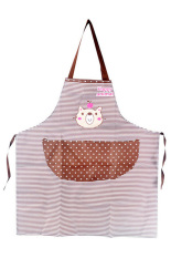 Bluelans Men Women Cartoon Bear Stripe Dot Apron Waterproof Kitchen Bib with Pocket Coffee (Intl)