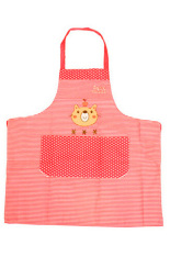Bluelans Men Women Cartoon Bear Stripe Dot Apron Waterproof Kitchen Bib with Pocket Red (Intl)
