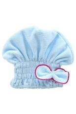 Bluelans Women's Hair Drying Hat Towel Turban Cap Bowknot Soft Coral Velvet Micro-fiber Blue (Intl)