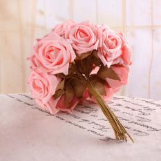 Bunga mawar bunga buatan busa buket pengantin dekorasi pernikahan 7 cm berwarna merah muda