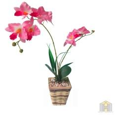 Bunga plastik jenis anggrek + pot