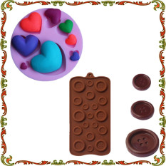 Button Shape Silicone Mold Soap\Chocolate Mould And Love Heart Shaped DIY Baking Cake Decorating Tools - Intl