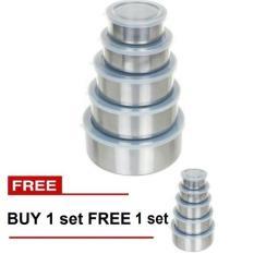 Buy 1 Get 1 Paling Laku Fresh Box 5 Pcs + Tutup Kedap Udara - Tempat Makanan Stainless Steel (Silver)