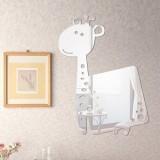 Cartior Cartoon Giraffe 3D DIY Acrylic Mirror Wall Sticker Home Decaration Removable Decal For Living Room37*50 (Gold)