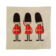 BolehDeals Cartoon England Guard Cotton Linen Throw PillowCase Cushion Cover Sofa Decor