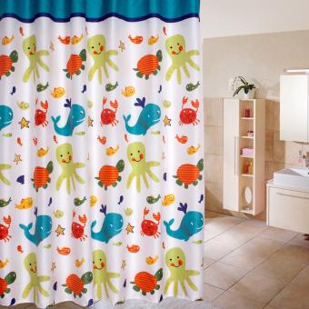 Cartoon Ocean Lovely Fish Animal Pattern Bathroom Fabric Shower Curtain 02 - Intl