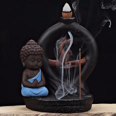 Ceramic Buddha Statues Smoke Backflow Cone Censer Holder Incense Burner Decoration - intl