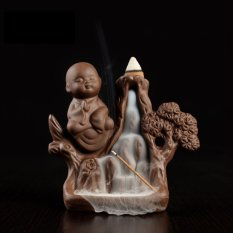Ceramic Buddhist Buddha Smoke Backflow Cone Holder Incense Burner & 10 CONES - intl