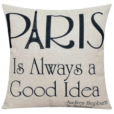 Cocotina Modern Cotton Linen Home Decorative Square Pillow Case Throw Pillow Cushion Cover - Letter Paris (Intl)