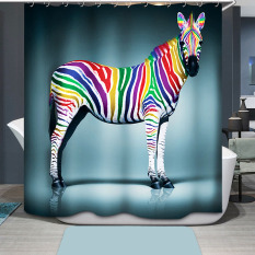 Colorful Zebra Printing Bathroom Shower Curtain Waterproof H1532f3