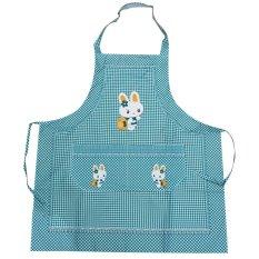 Cooking Work Bib Rabbit Lattice Pocket Cartoon Apron Dress Green