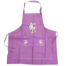 Cooking Work Bib Rabbit Lattice Pocket Cartoon Apron Dress Purple