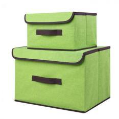 Cotton & Linen Foldable Storage Box 2pcs / Set