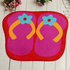 Cute Anti-slip Flip Flops Absorbent Entrance Floor Door Bathroom Mats Carpet Rug Rose Red (Intl)
