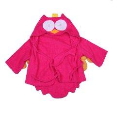 Cute Baby Infant Kid Animal Owl Red Hooded Bath Beach Towel (Fuschia)