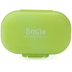 Cute Mini 4 Slots Portable Medical Pill Case Drug Medicine Storage Box (Green)