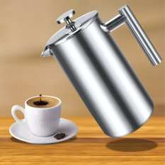 Sunweb Coffee Maker 1000Ml Double Wall Stainless Steel Diy Coffee Presses with One Replacement Filter Screen (Silver) (Intl)