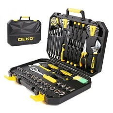 DEKO 128pcs Socket Wrench Tool Set Auto Repair Mixed Tool Combination Package Hand Tool Kit with