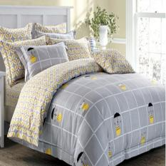 Depo Sprei Dan Bed Cover Grey Square Sateen Jepang King Size