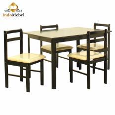 Dining Set - Ray Meja dan Kursi Makan Kayu untuk 4 Orang - Hitam - Free Ongkir Medan - Free Kaca Meja Reben