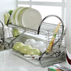 Dish Rack 2 Tier Stainless Steel Dish Drainer/Rak Piring 2 Tingkat Layer New Sendok