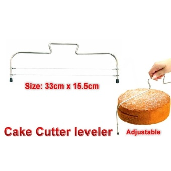 Double Wire Metal Silver Adjustable Cake Cutter Slicer CuttingLeveller - intl